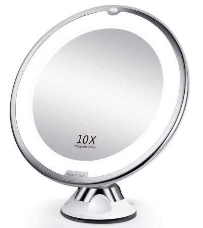 beautural 10x magnifying round mirror